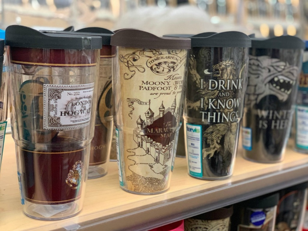 Harry Potter themed tumblers on display in-store