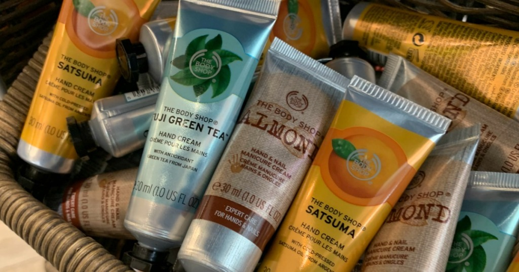 The Body Shop Hand Creams in a basket