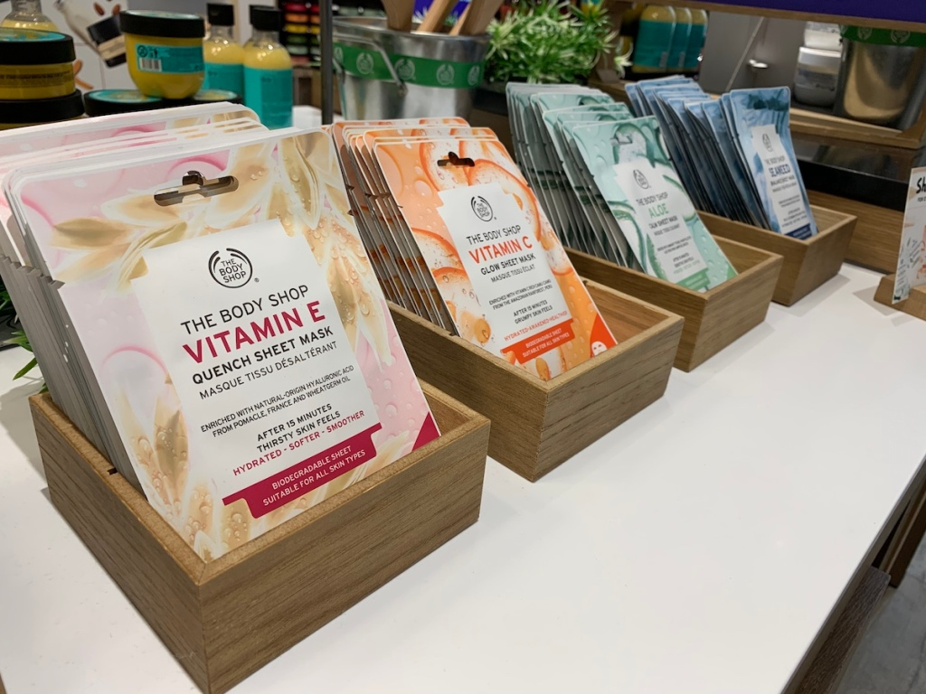 The Body Shop Sheet Masks on display