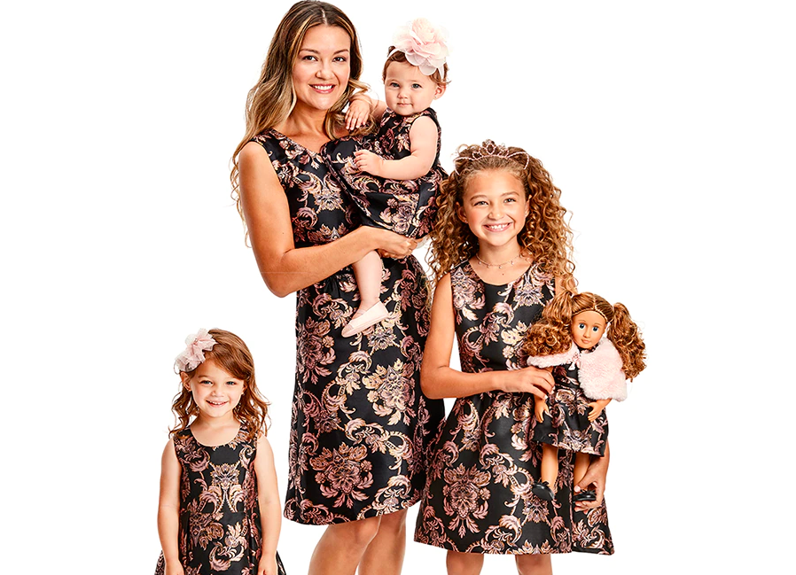 family wearing The Children's Place Matching Women's Dress