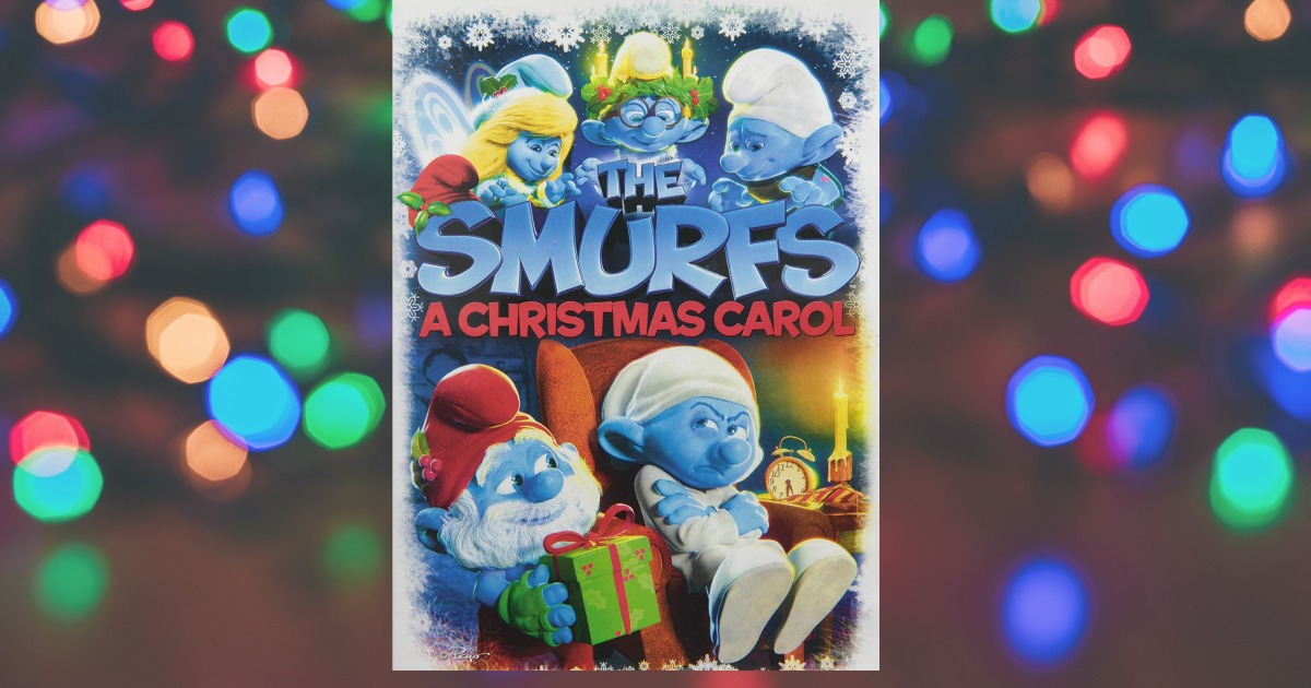 The Smurfs Christmas Carol case in front of Christmas lights
