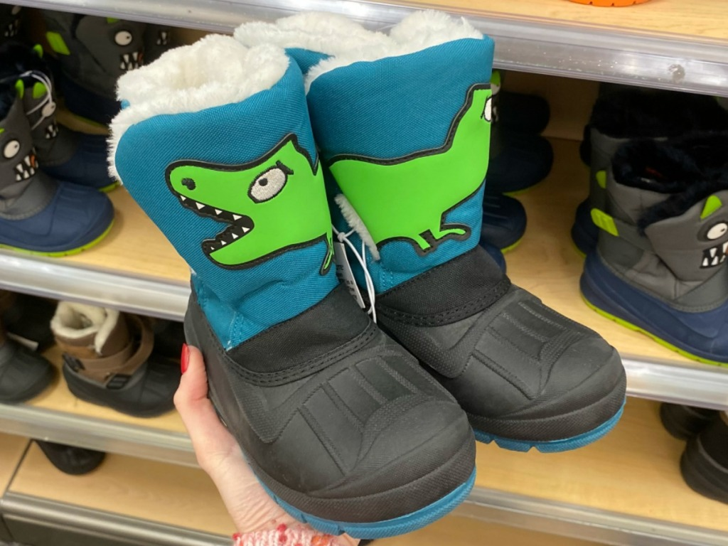 Dinosaur themed snow boots