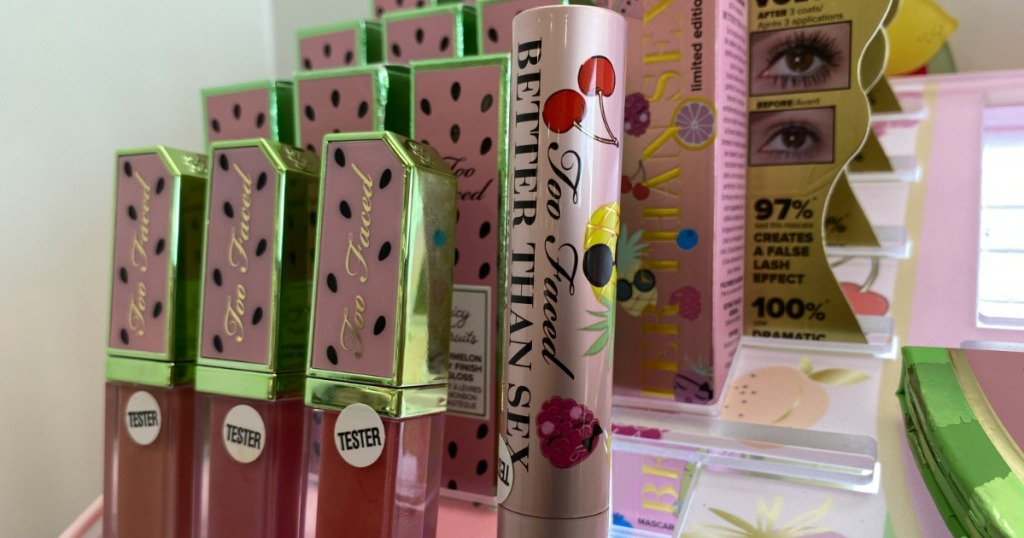 Too Faced Tutti Frutti products on display