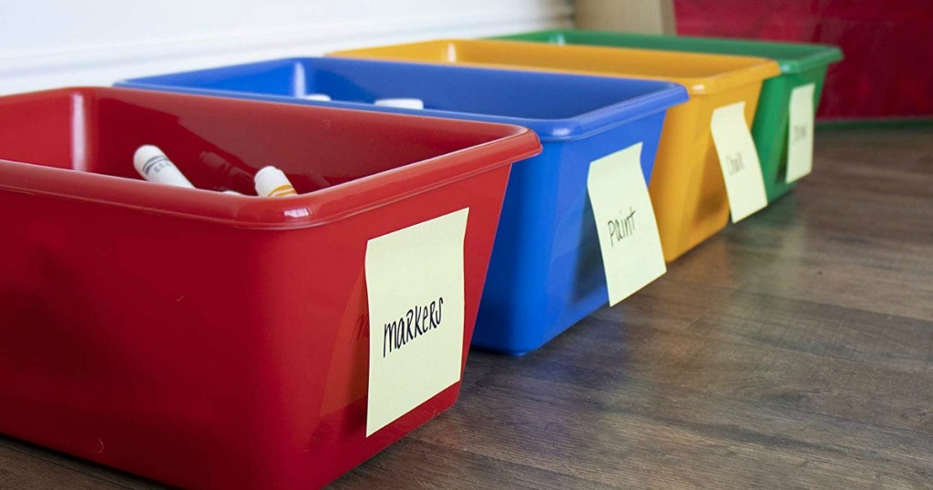 Tot Tutors Small Storage Bins with labels