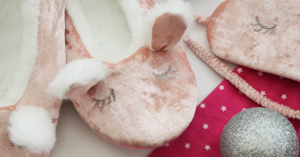 Bunny slippers with matching eye mask