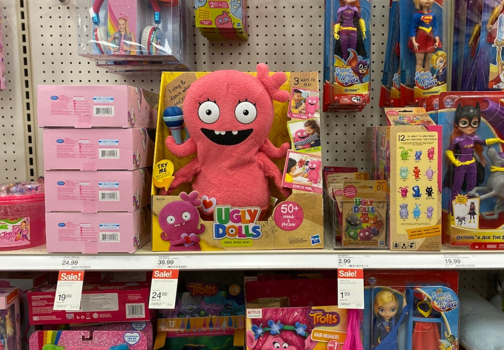 Ugly Dolls Sing and Dance Moxy on shelf with other toys at Target