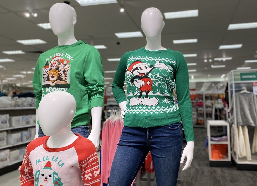 Ugly Sweaters on mannequins at Target