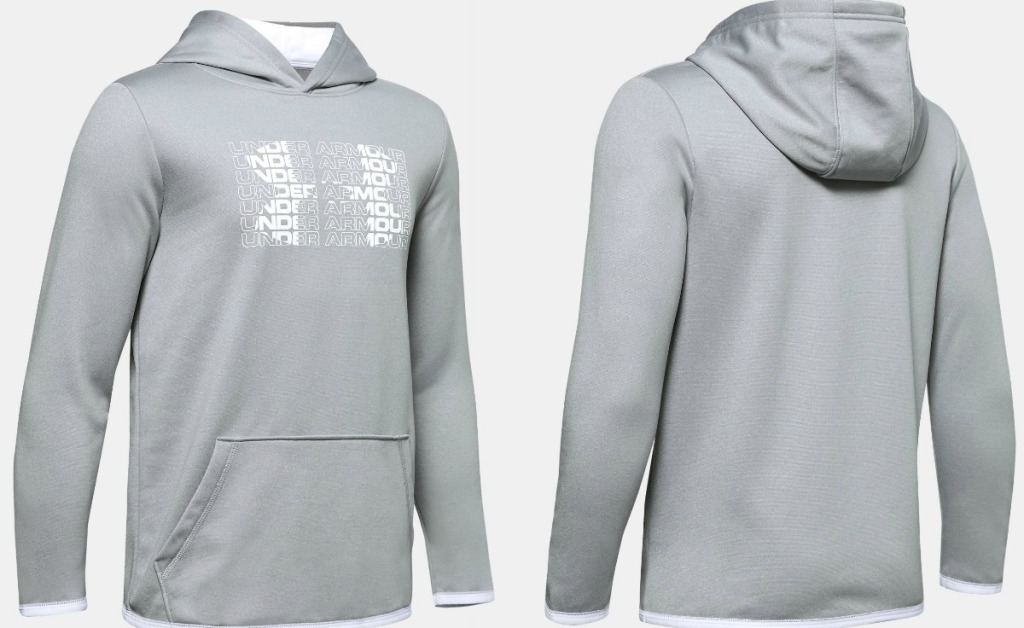 Front & Back view of a gray Under Armour hoodie