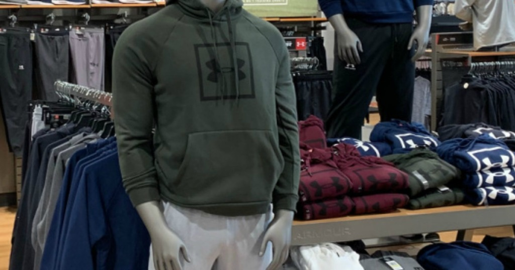 Under Armour Hoodies in a store