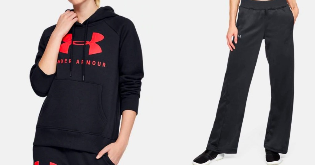 woman wearing Under Armour sweatshirt and pants