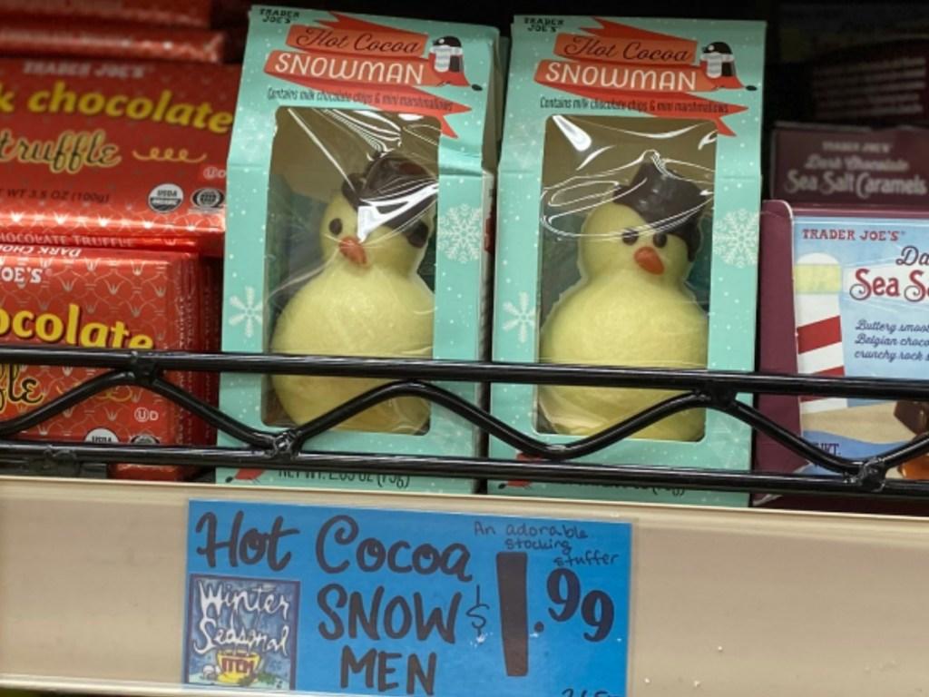 Snow Man Cocoa on the shelf at Trader Joe's