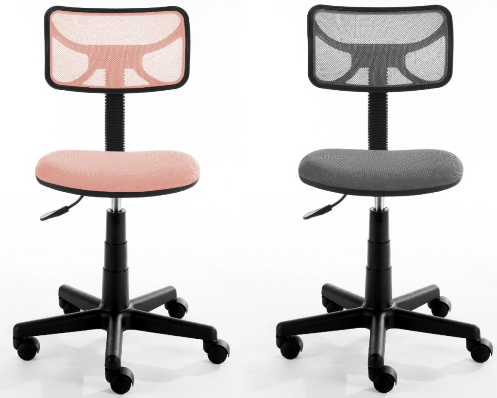 Urban Shop Swivel Mesh Office Chair in pink and gray
