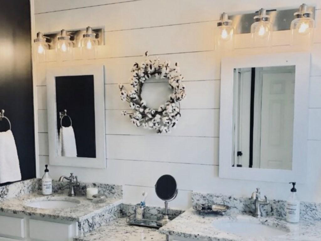 Vasilia 3-Light Dimmable Vanity Lights in bathroom