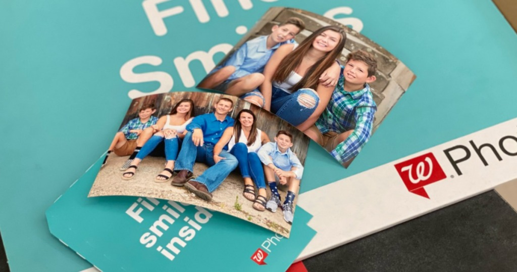 Photo prints of family on Walgreens photo counter