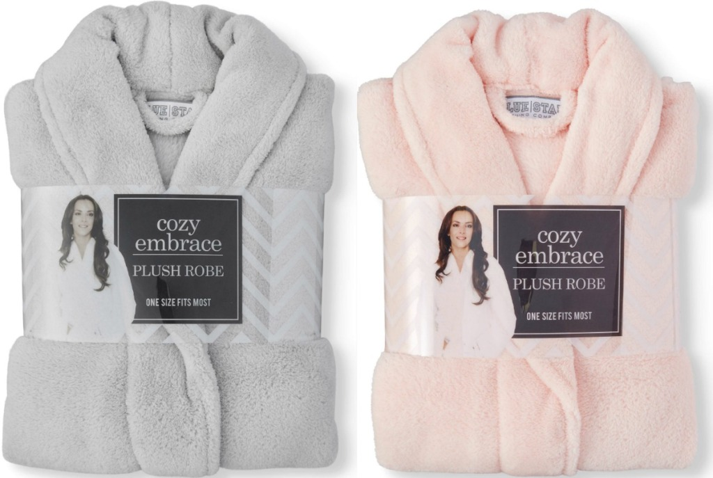 Two styles of robes from Walmart in gray and pink