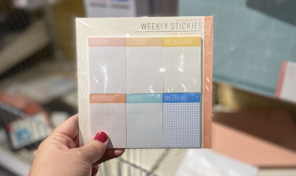 hand holding pack of Weekly Stickies