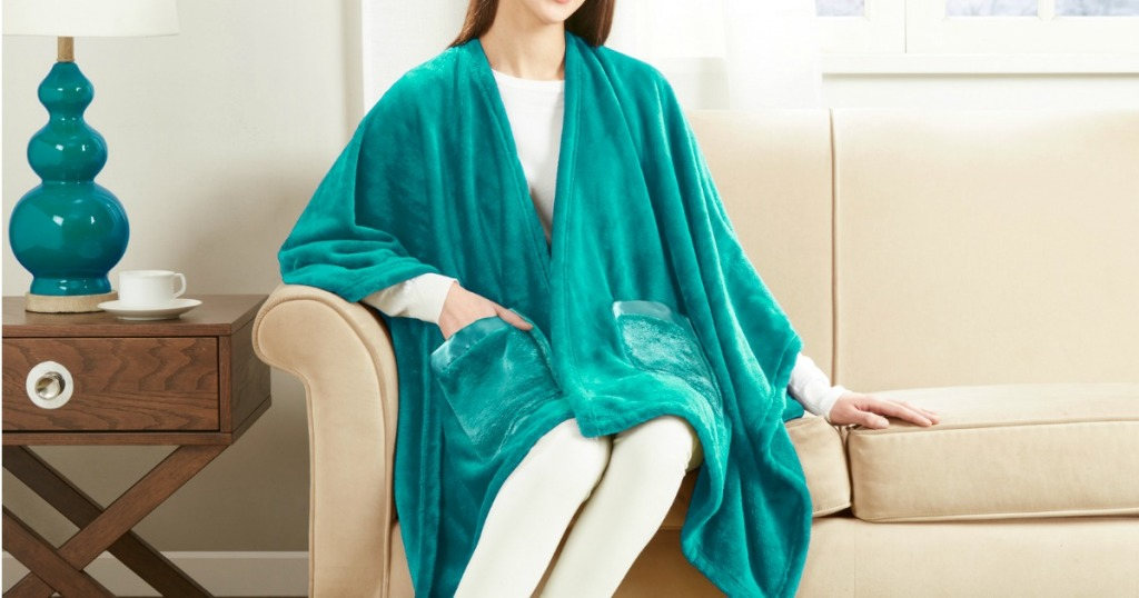 Woman wearing Angel Blanket