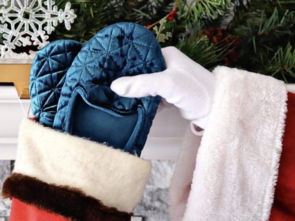 santa holding Women's Stephanie Crushed Velour Closed Back Slippers