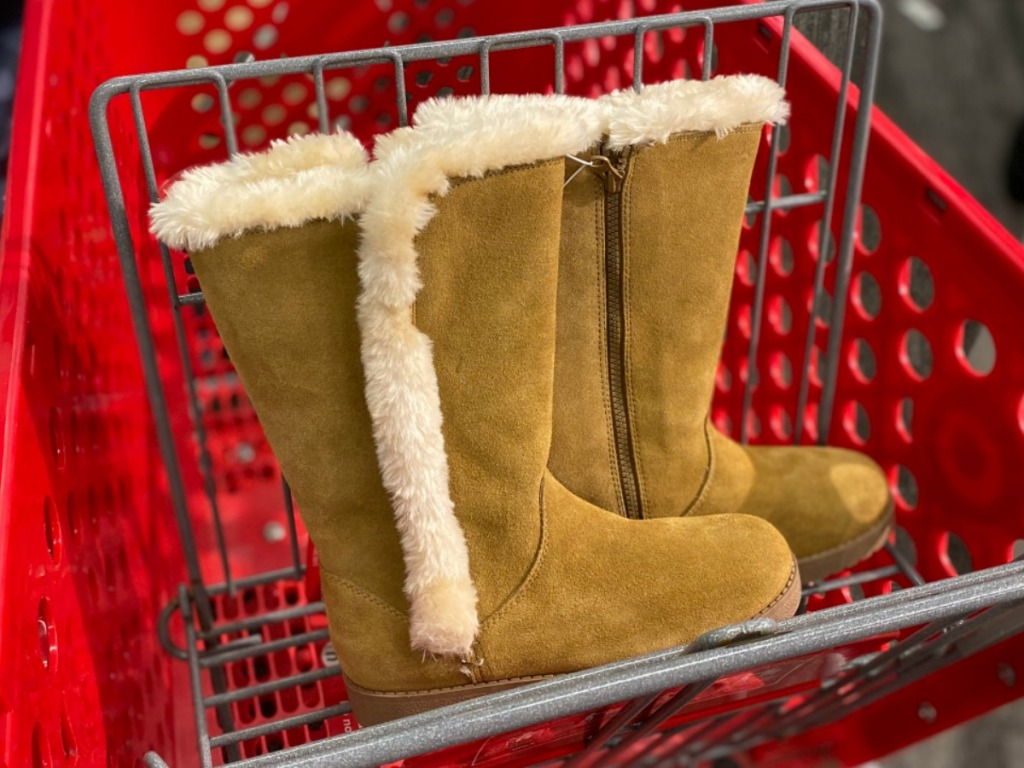 Women's fuzzy boots in red Target shopping cart