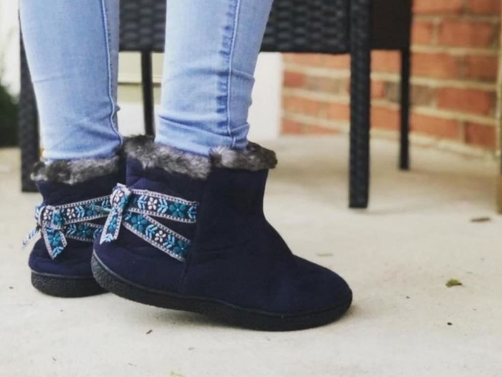 woman wearing blue Women's Nora Microsuede Boot Slippers