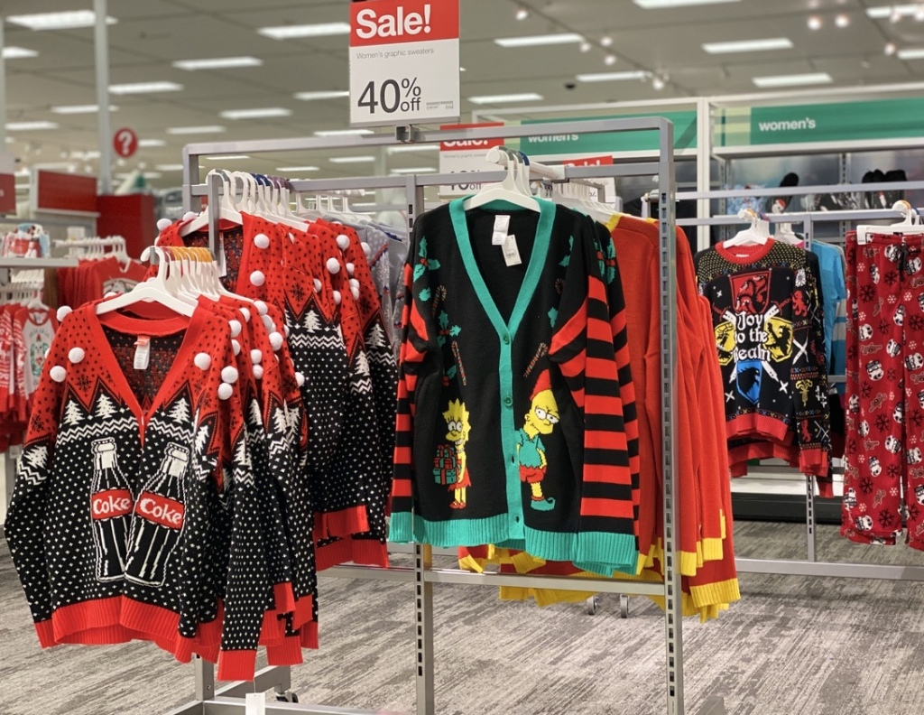 Women's Ugly Christmas Sweaters on display at Target
