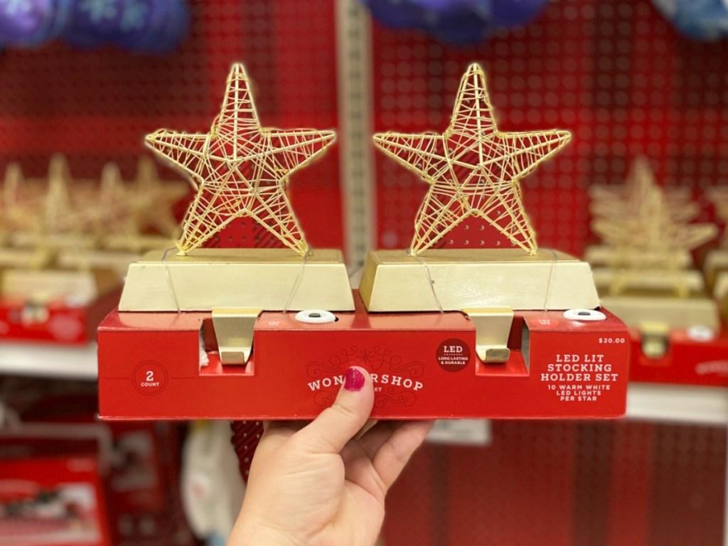 Wondershop LED stocking holder on display in store