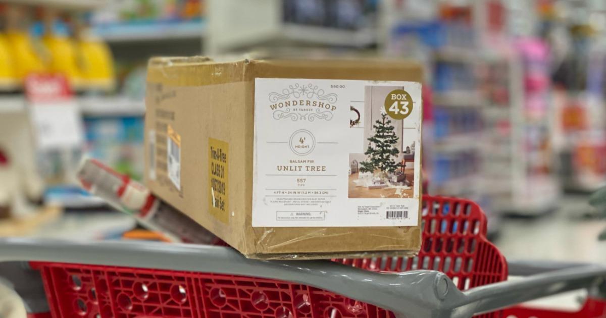 Christmas Tree in package in Target cart