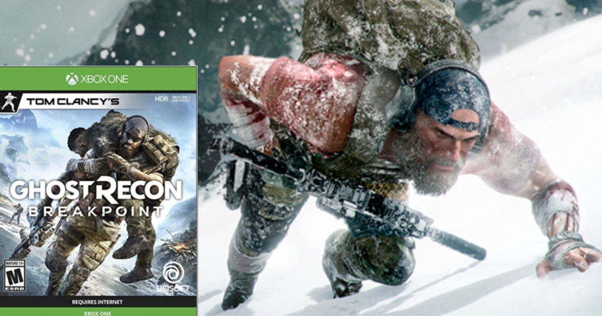 XBOX ONE Ghost Recon Game at bottom left of photo, overtop a screenshot of the game.