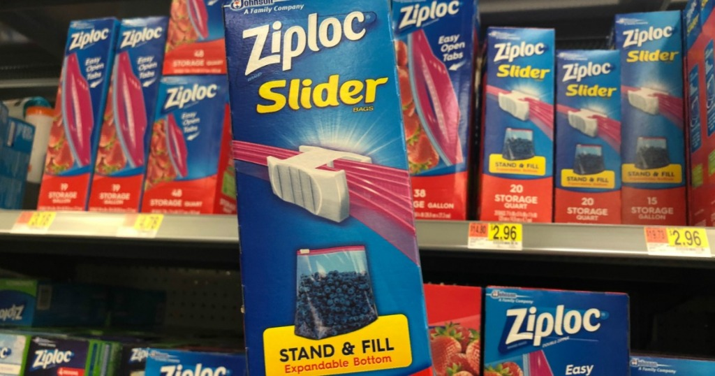 large box of ziploc slider stand and fill bags