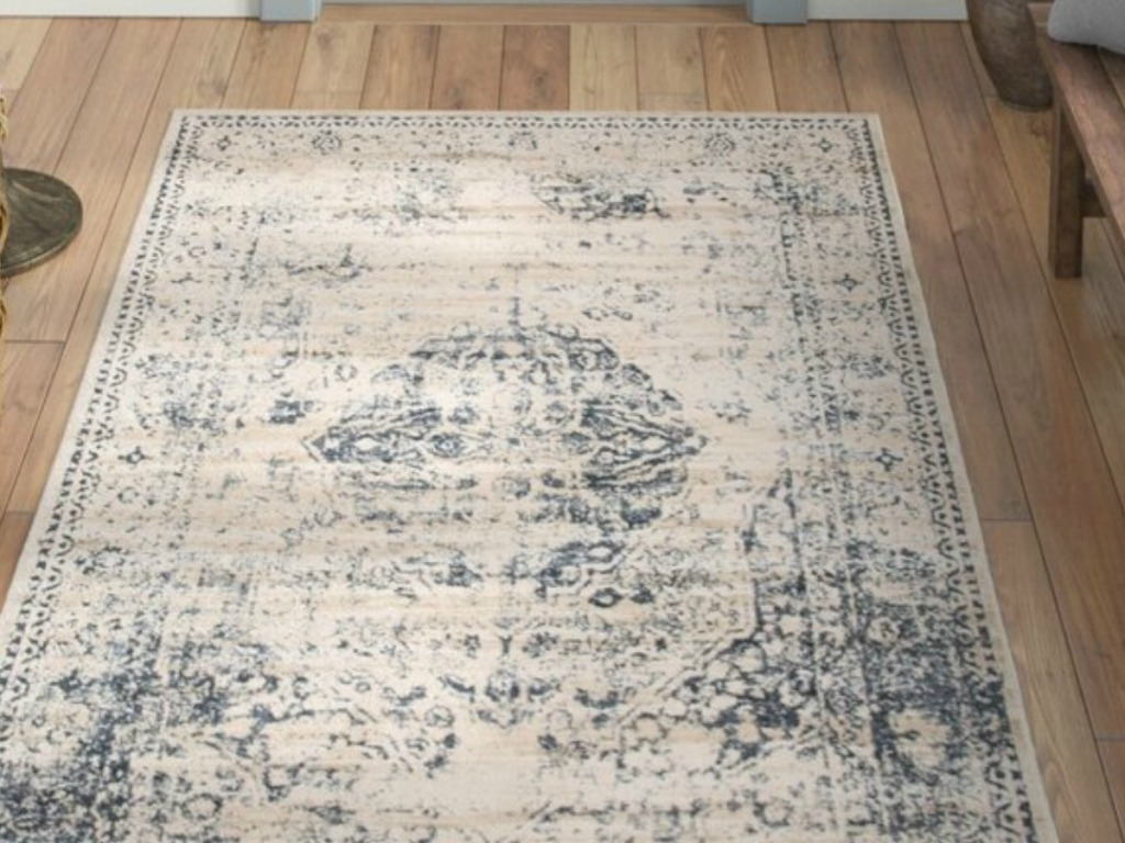 gray and blue rug on floor by door entrance