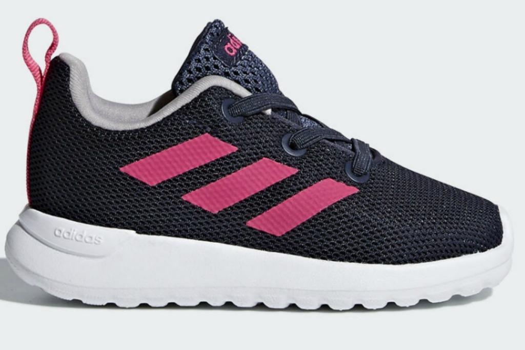 adidas kids shoes in black with pink stripes