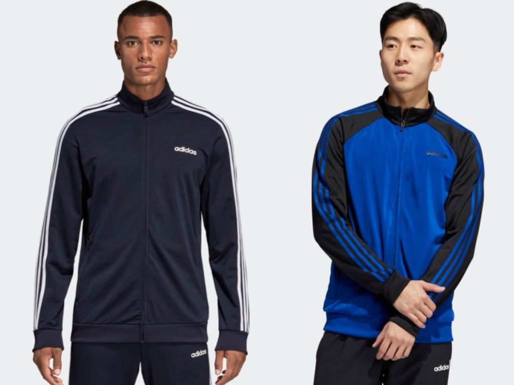 men modelling adidas track jackets