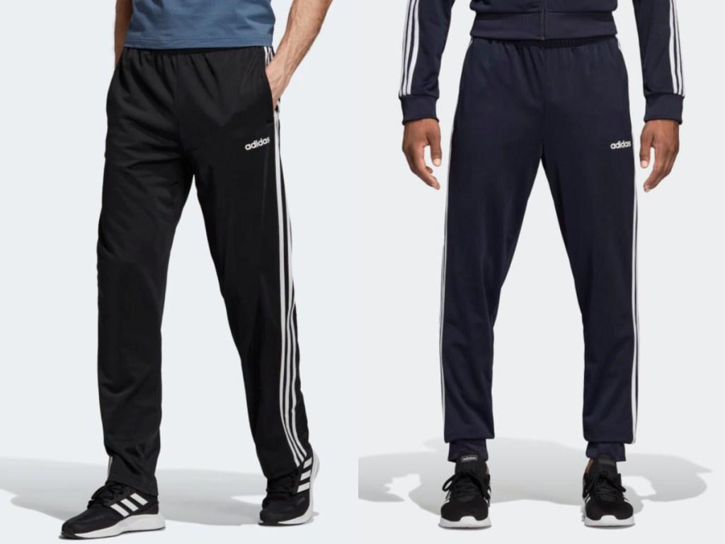 men modeling adidas pants