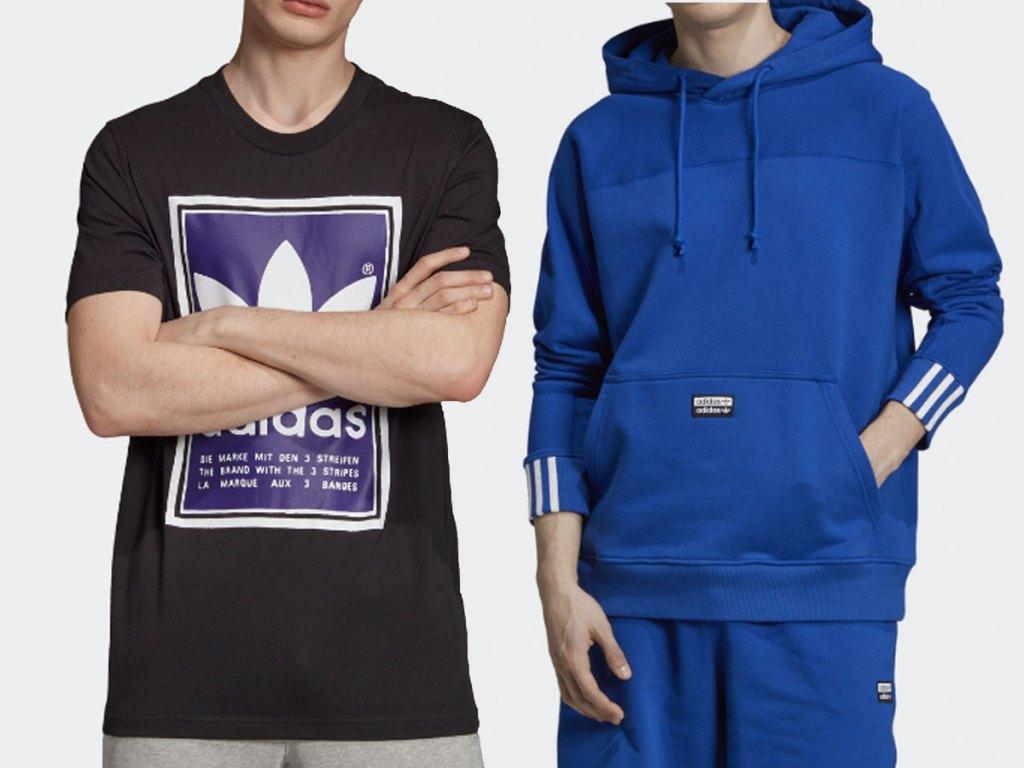 adidas tshirt and men's hoodie on model