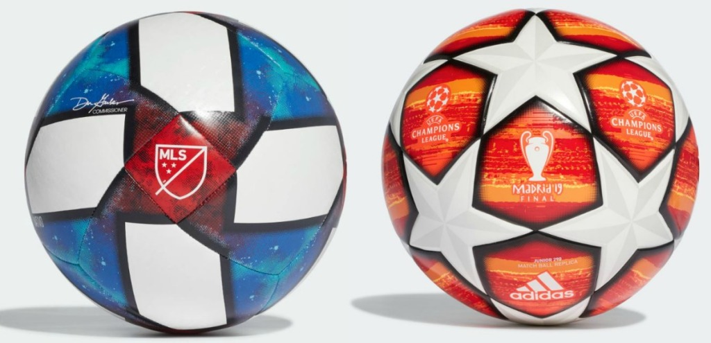 two colorful soccer balls