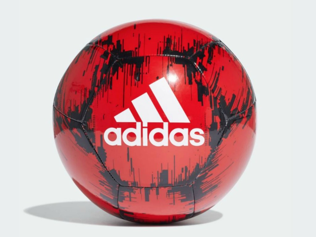 red soccer ball with adidas logo