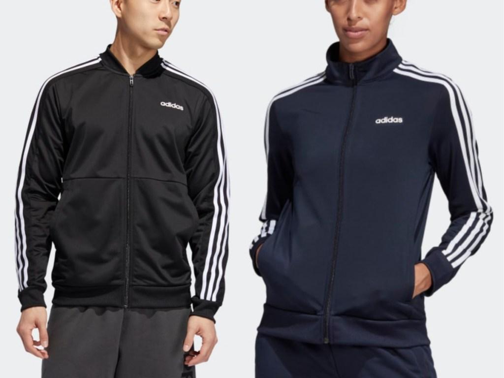 adidas black and blue jackets