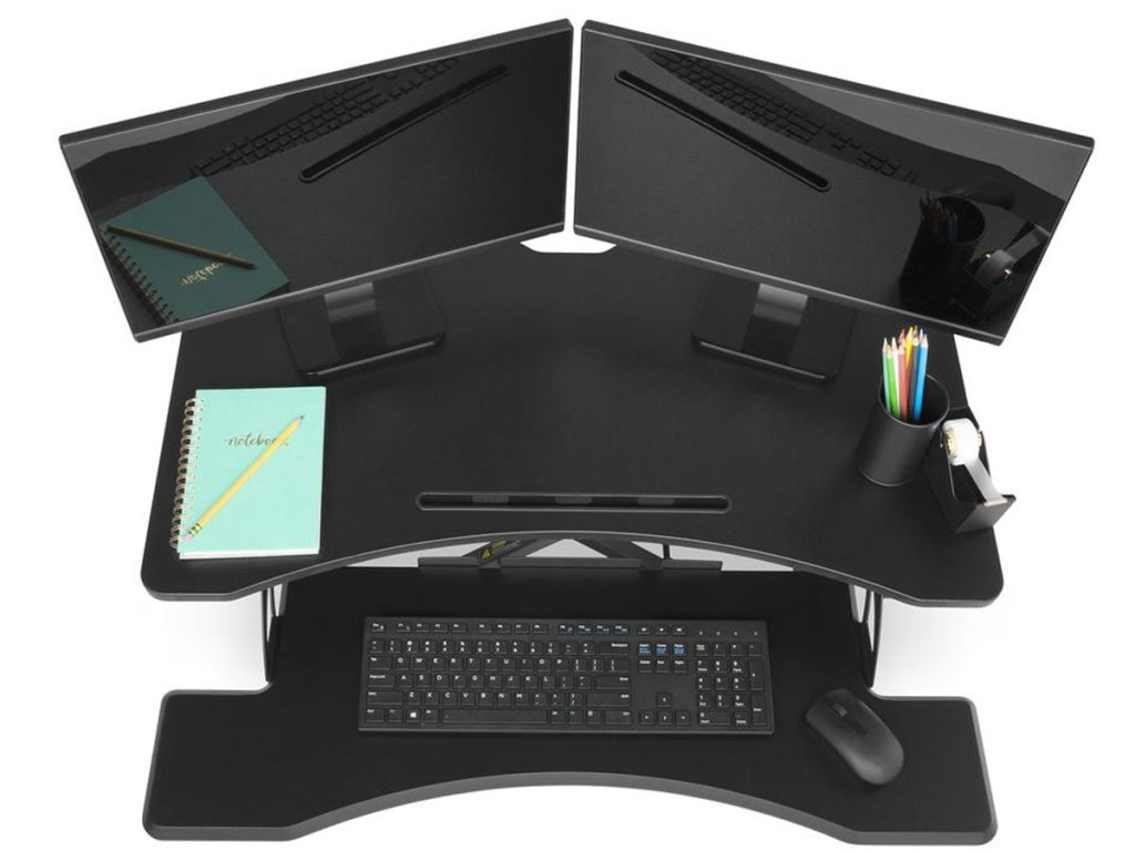 "stock image 36"" 2-Tier Electric Adjustable Dual-Monitor Standing Desk w/ Charging Port"