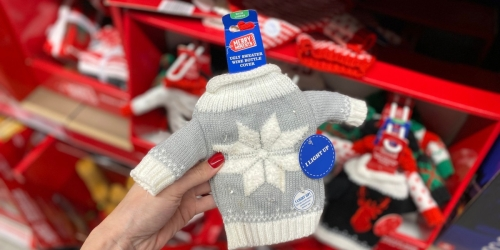 Light Up Ugly Christmas Sweaters for Wine Bottles Only $2.99 at ALDI!