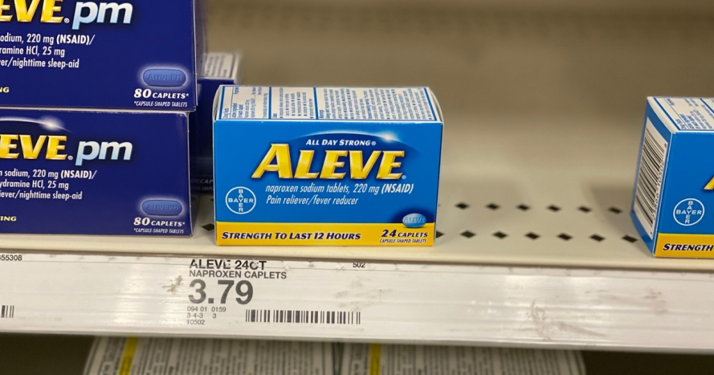 box of aleve pain reliever on shelf at target