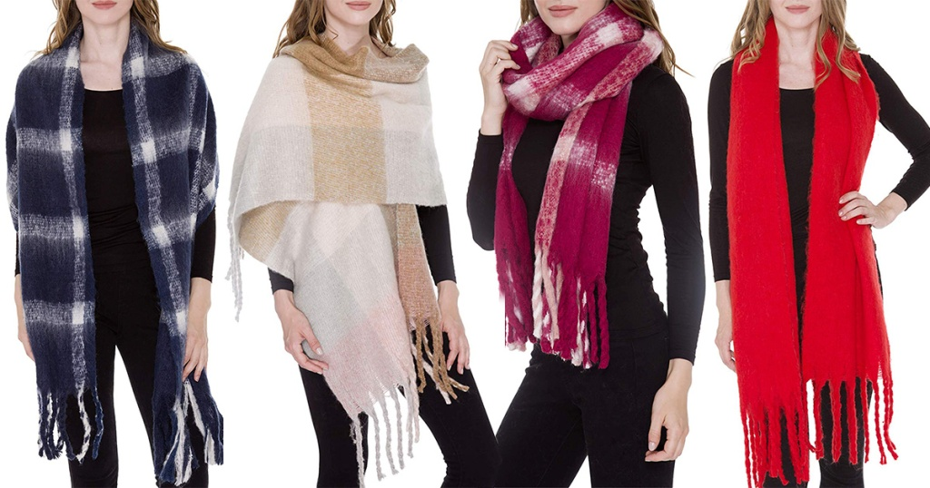 assortment of Amazon blanket scarf patterns
