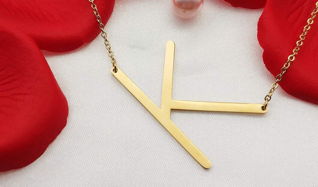 """Gold initial necklace with the letter """"K"""""""