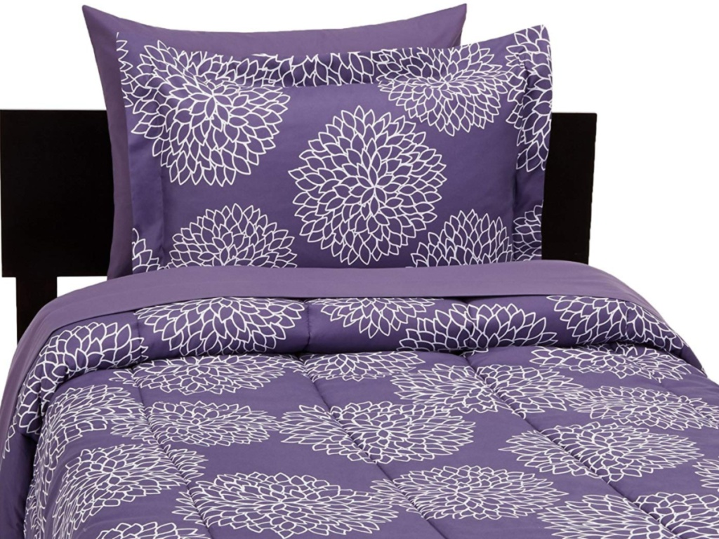purple and white bedding
