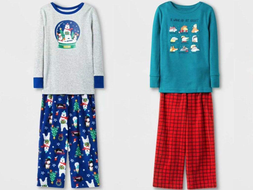 two pair of christmas themed pajamas