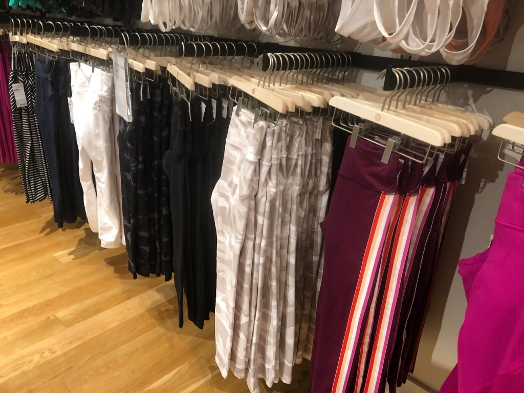 athleta leggings on display in store