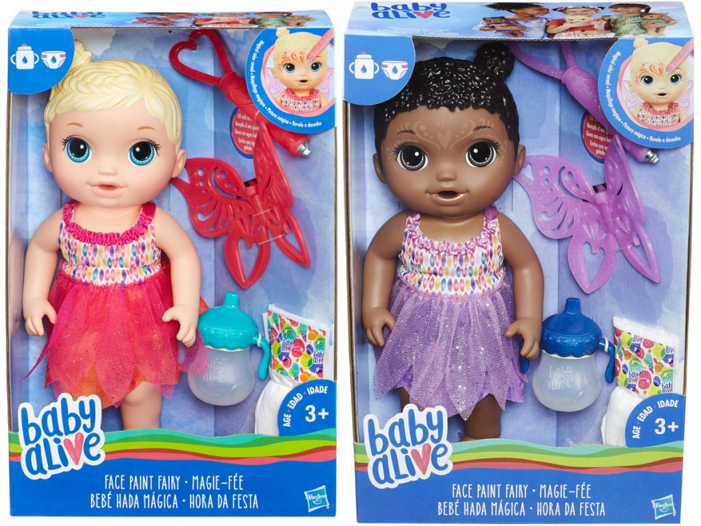 two boxes each of Baby Alive Face Paint Fairy Dolls in blonde or black hair