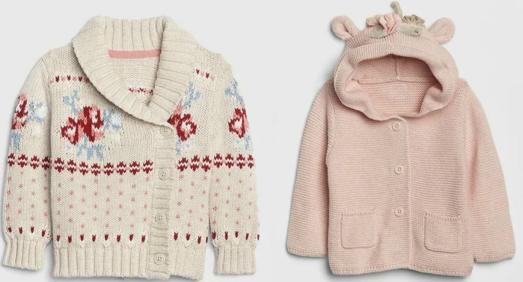 two small sweaters for babies