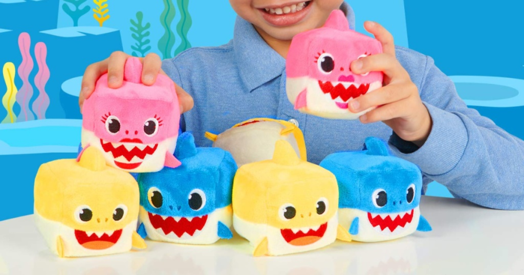 baby shark cubes family with boy holding mommy shark