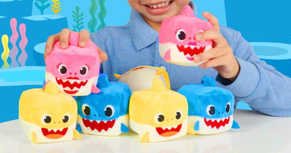baby shark cubes family with boy holding mommy shark