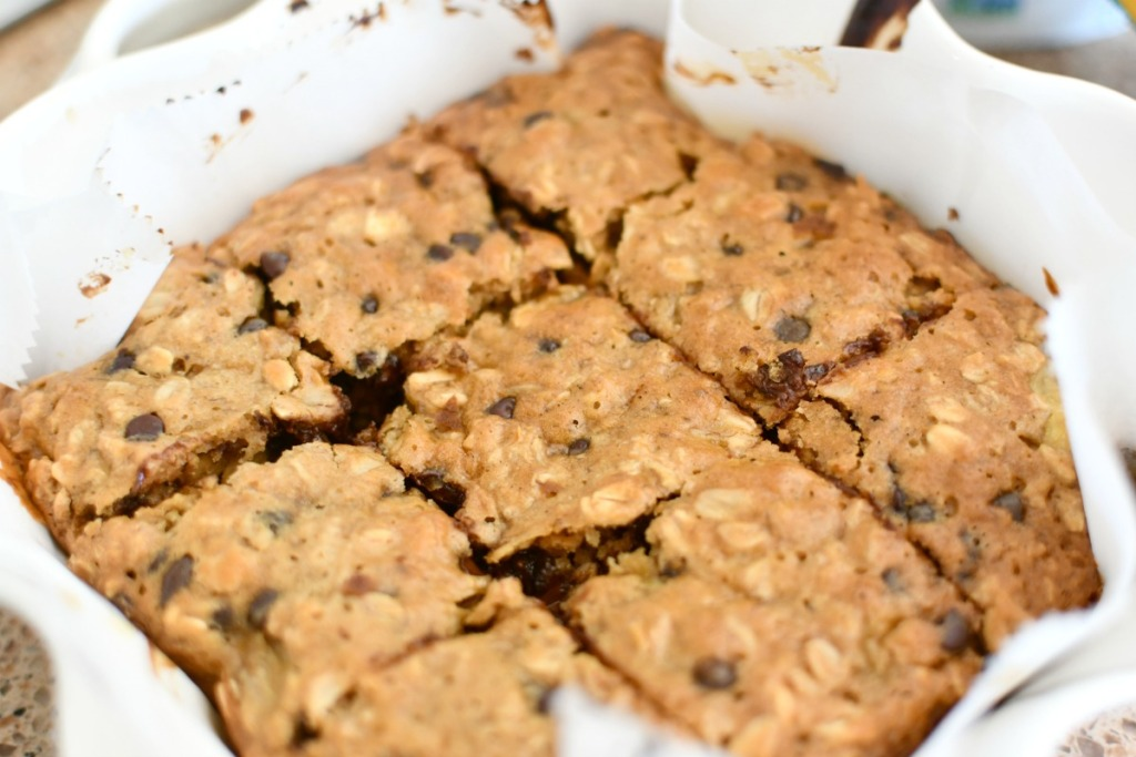 baked oatmeal squares in a pan